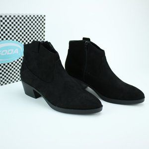 Soda Black Vegan Faux Suede Ankle Booties Plain